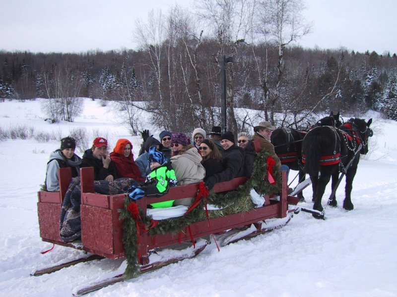 A group of people bundled up on a horse-drawn sleigh getting ready for a winter time sleigh ride