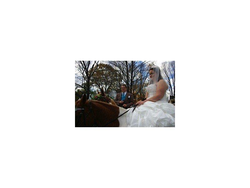 Bride and groom on horseback after the wedding