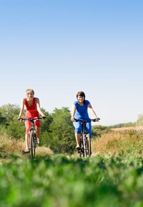 Two people riding bicycles along a path surrounded by lush greenery and blue skies